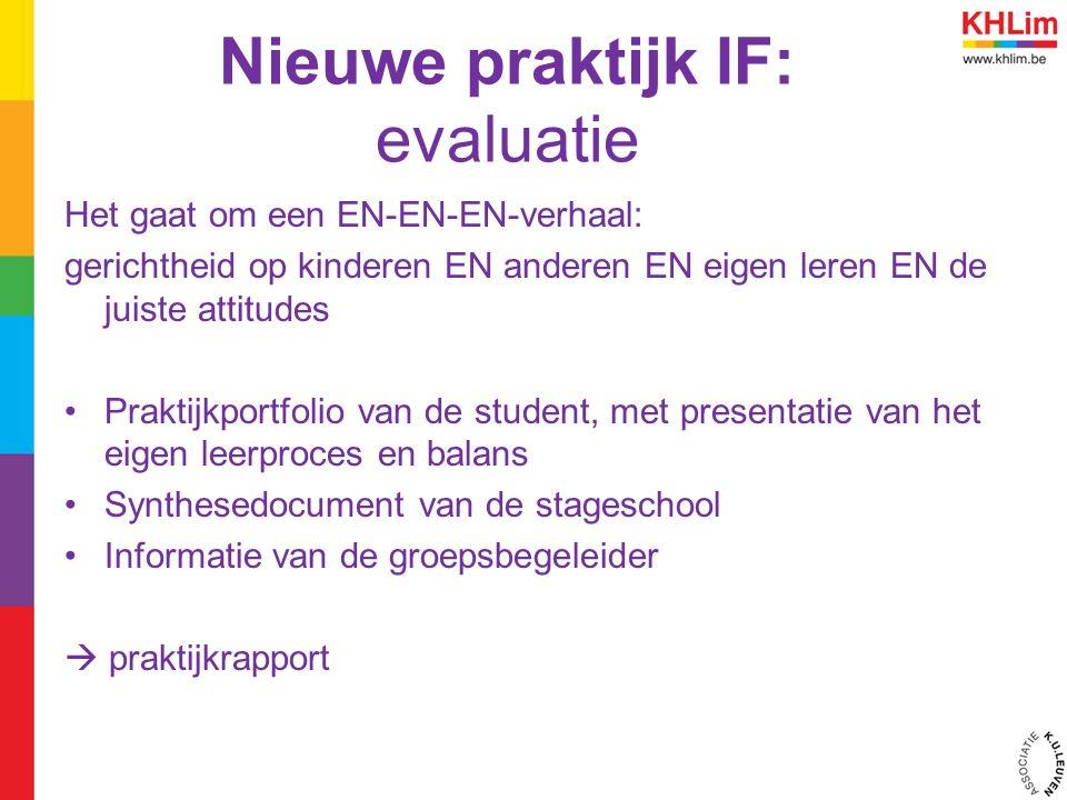 Nieuwe praktijk IF: evaluatie Het gaat om een EN-EN-EN-verhaal: gerichtheid op kinderen EN anderen EN eigen leren EN de juiste attitudes Praktijkportf