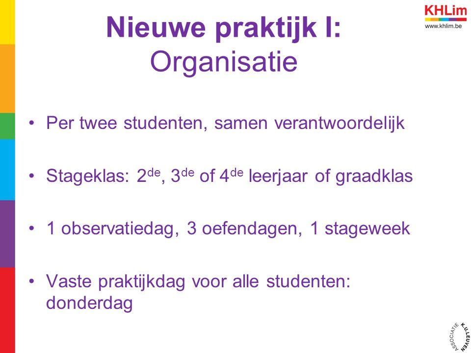 Nieuwe praktijk I: Organisatie Per twee studenten, samen verantwoordelijk Stageklas: 2 de, 3 de of 4 de leerjaar of graadklas 1 observatiedag, 3 oefen