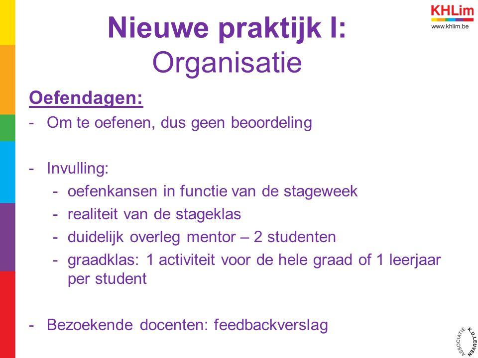 Nieuwe praktijk I: Organisatie Oefendagen: -Om te oefenen, dus geen beoordeling -Invulling: -oefenkansen in functie van de stageweek -realiteit van de