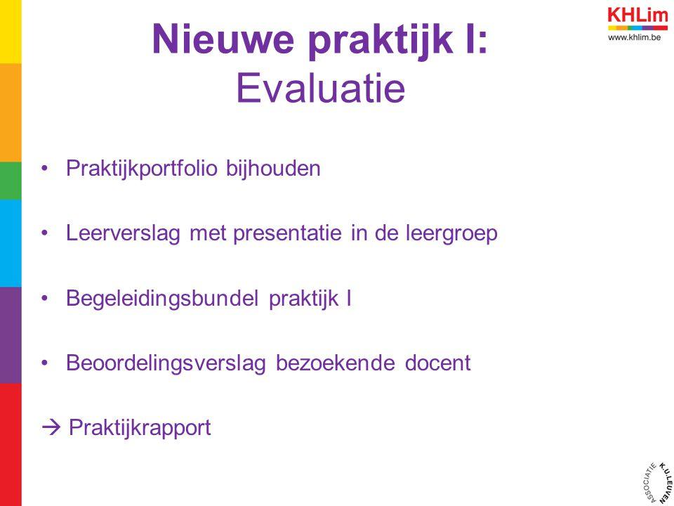 Nieuwe praktijk I: Evaluatie Praktijkportfolio bijhouden Leerverslag met presentatie in de leergroep Begeleidingsbundel praktijk I Beoordelingsverslag bezoekende docent  Praktijkrapport