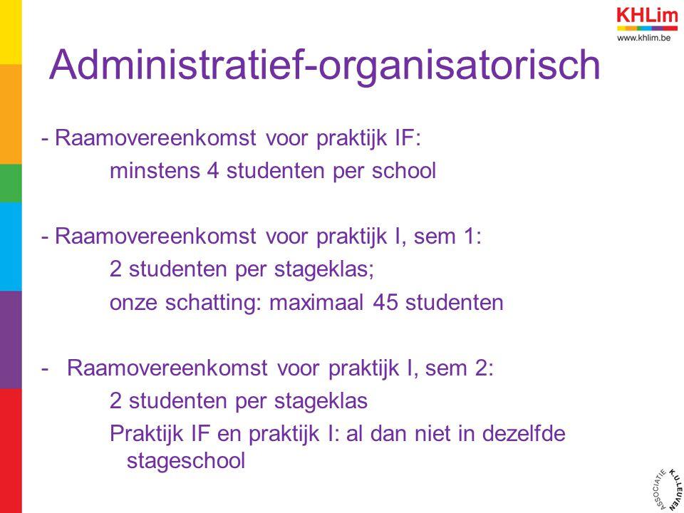 Administratief-organisatorisch - Raamovereenkomst voor praktijk IF: minstens 4 studenten per school - Raamovereenkomst voor praktijk I, sem 1: 2 stude