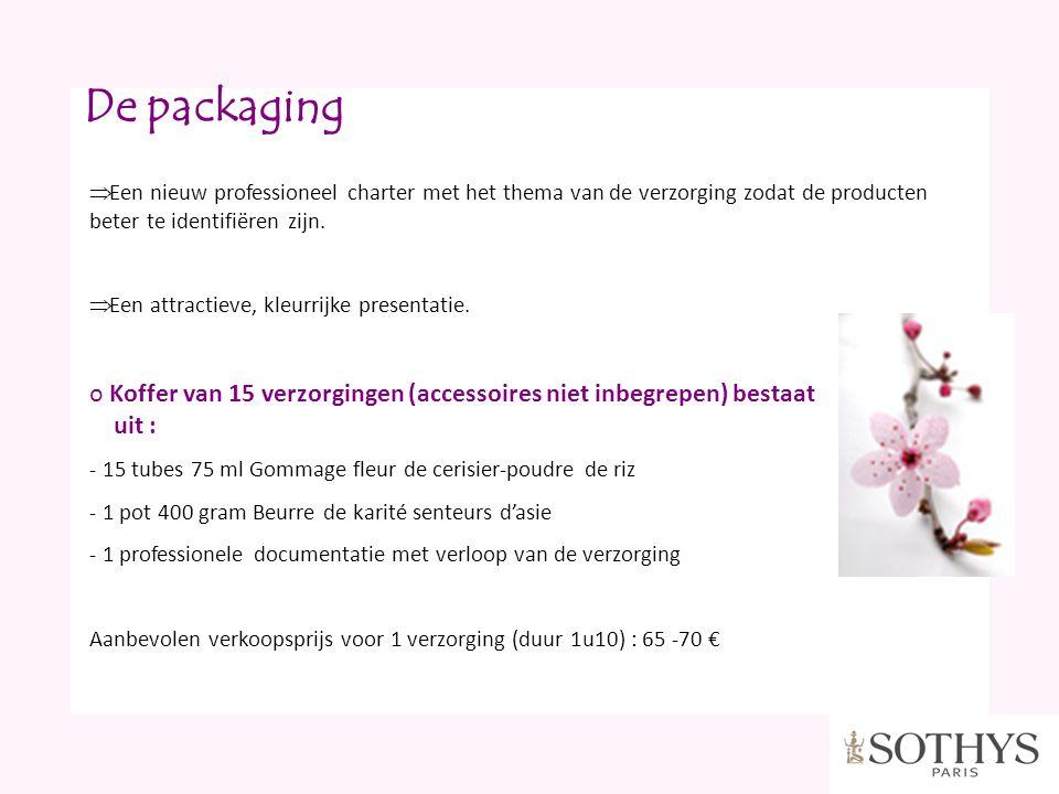 De packaging  Een nieuw professioneel charter met het thema van de verzorging zodat de producten beter te identifiëren zijn.  Een attractieve, kleur