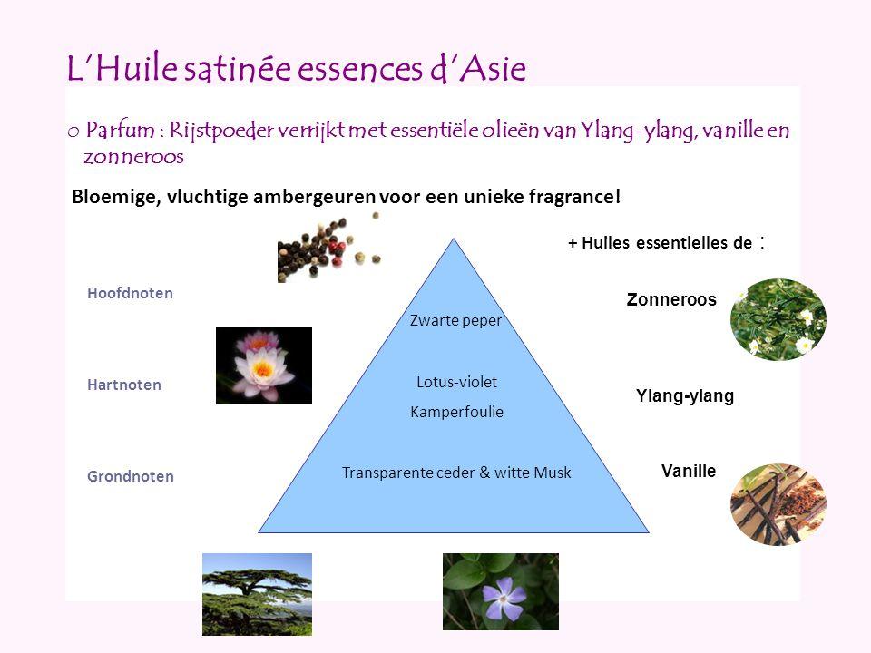 L'Huile satinée essences d'Asie Hoofdnoten Hartnoten Grondnoten o Parfum : Rijstpoeder verrijkt met essentiële olieën van Ylang-ylang, vanille en zonn
