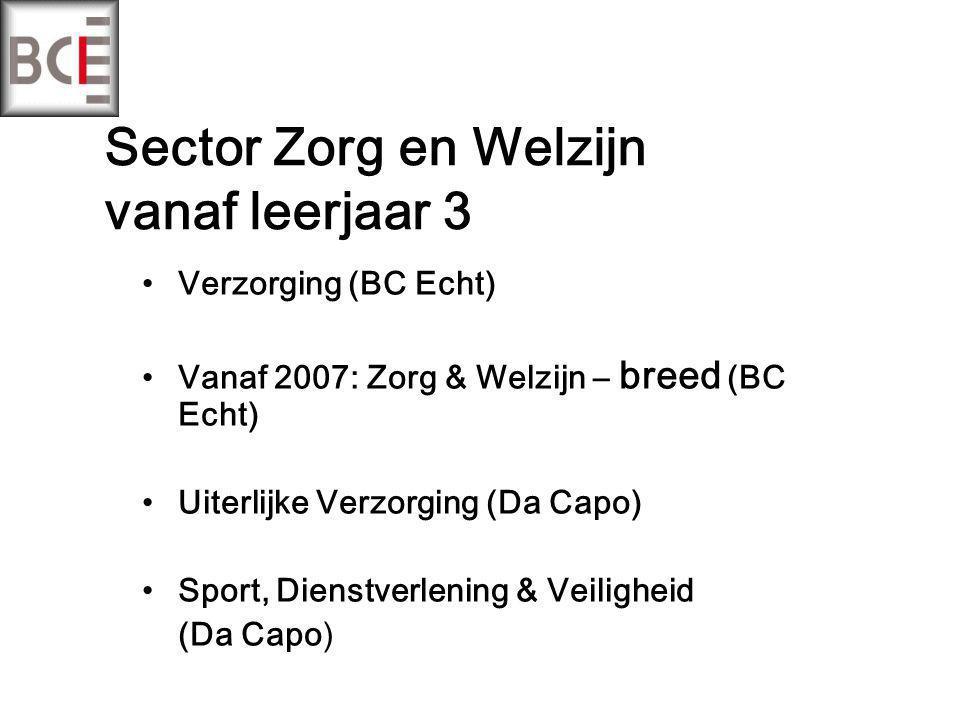 Sector Zorg en Welzijn vanaf leerjaar 3 Verzorging (BC Echt) Vanaf 2007: Zorg & Welzijn – breed (BC Echt) Uiterlijke Verzorging (Da Capo) Sport, Dienstverlening & Veiligheid (Da Capo)