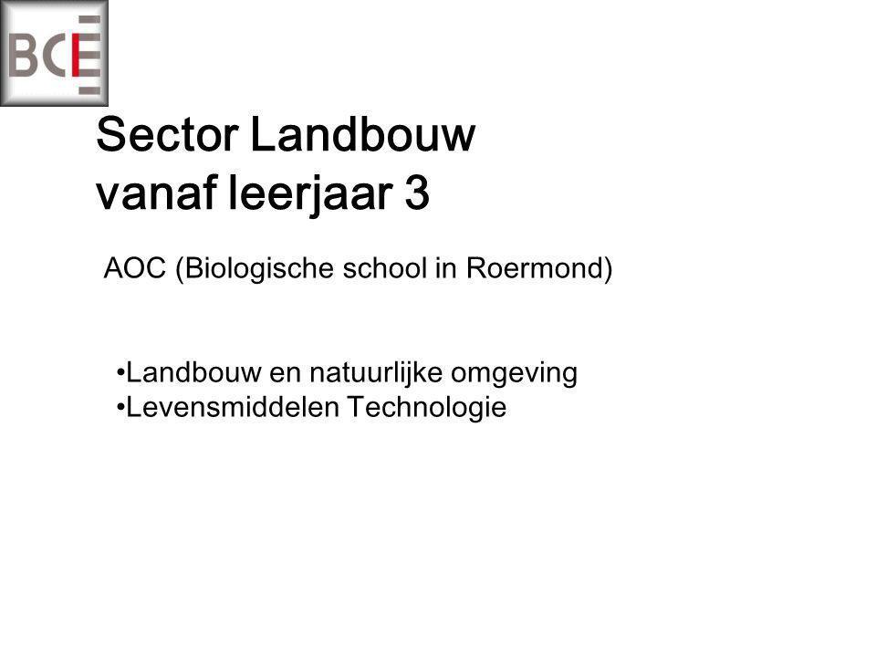 Sector Landbouw vanaf leerjaar 3 AOC (Biologische school in Roermond) Landbouw en natuurlijke omgeving Levensmiddelen Technologie