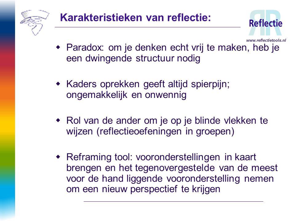 www.reflectietools.nl Karakteristieken van reflectie:  Paradox: om je denken echt vrij te maken, heb je een dwingende structuur nodig  Kaders oprekk