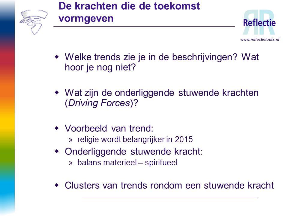www.reflectietools.nl De krachten die de toekomst vormgeven  Welke trends zie je in de beschrijvingen? Wat hoor je nog niet?  Wat zijn de onderligge
