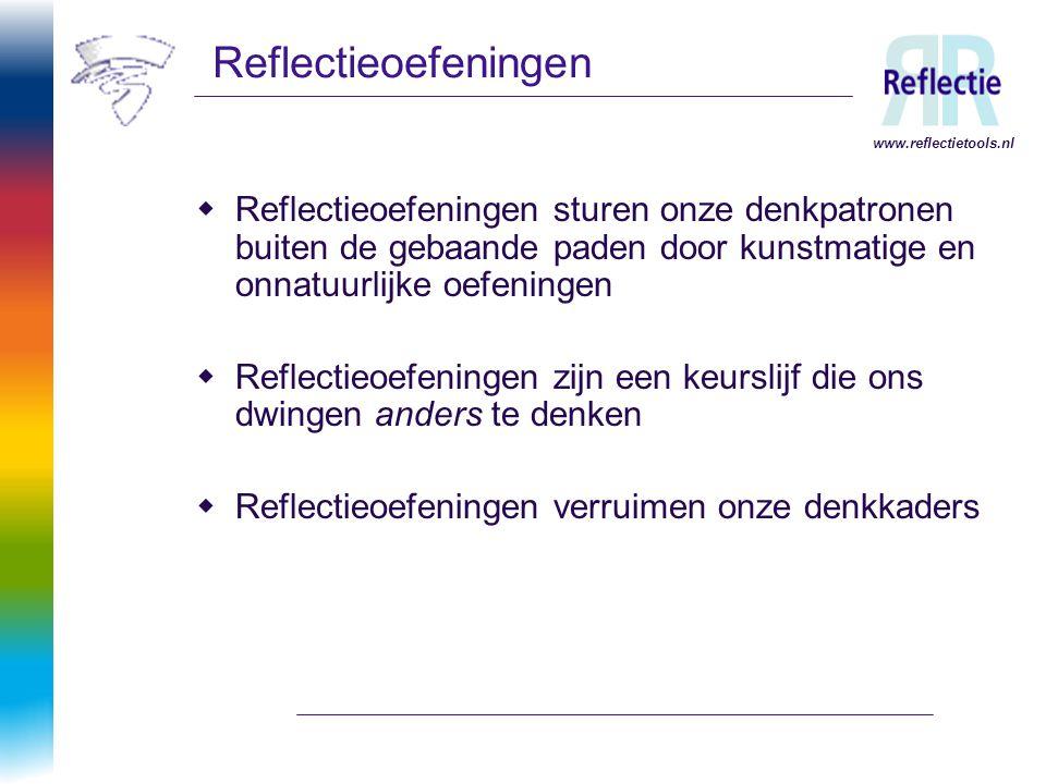 www.reflectietools.nl Reflectieoefeningen  Reflectieoefeningen sturen onze denkpatronen buiten de gebaande paden door kunstmatige en onnatuurlijke oe