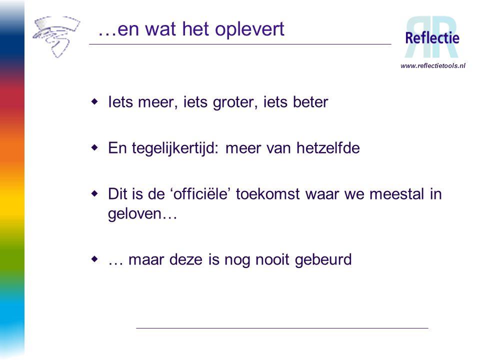 www.reflectietools.nl …en wat het oplevert  Iets meer, iets groter, iets beter  En tegelijkertijd: meer van hetzelfde  Dit is de 'officiële' toekom