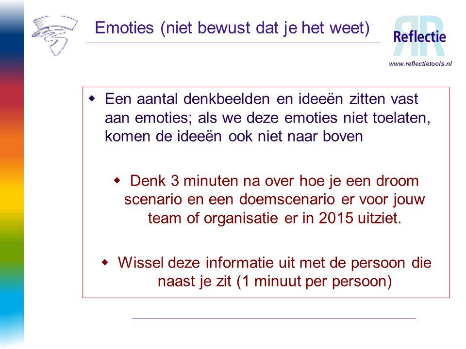 www.reflectietools.nl Emoties (niet bewust dat je het weet)  Een aantal denkbeelden en ideeën zitten vast aan emoties; als we deze emoties niet toela