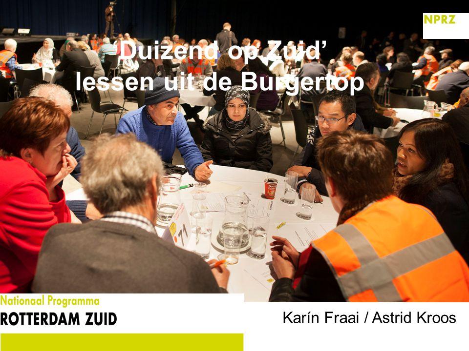 'Duizend op Zuid' lessen uit de Burgertop Karín Fraai / Astrid Kroos