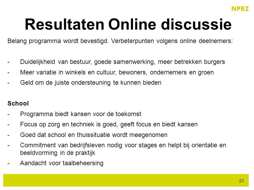 Resultaten Online discussie 23 Belang programma wordt bevestigd. Verbeterpunten volgens online deelnemers: -Duidelijkheid van bestuur, goede samenwerk