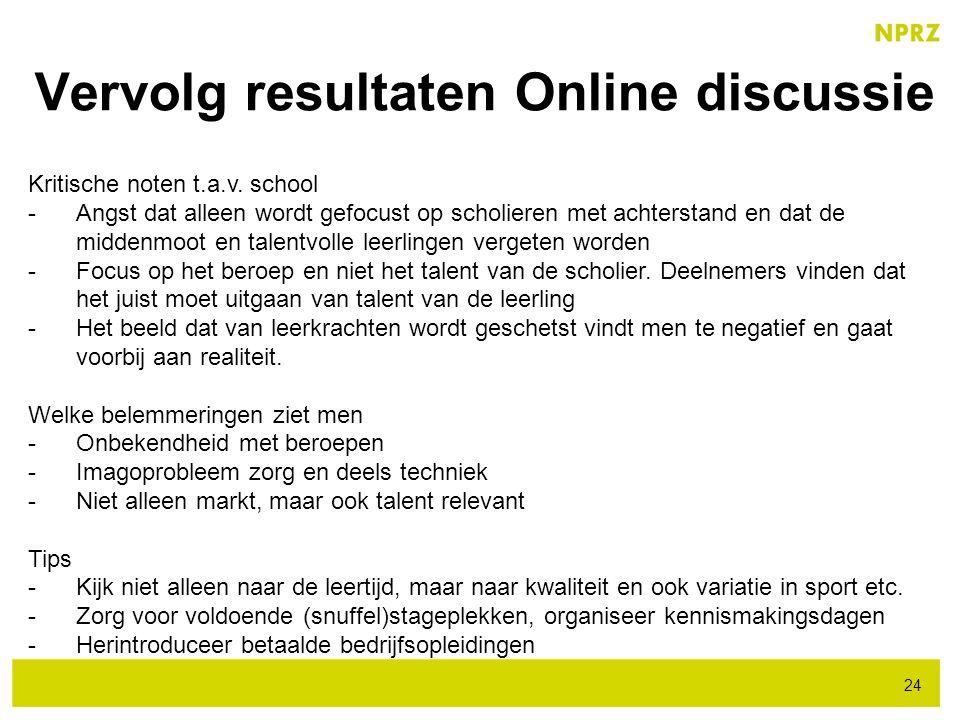 Vervolg resultaten Online discussie 24 Kritische noten t.a.v. school -Angst dat alleen wordt gefocust op scholieren met achterstand en dat de middenmo