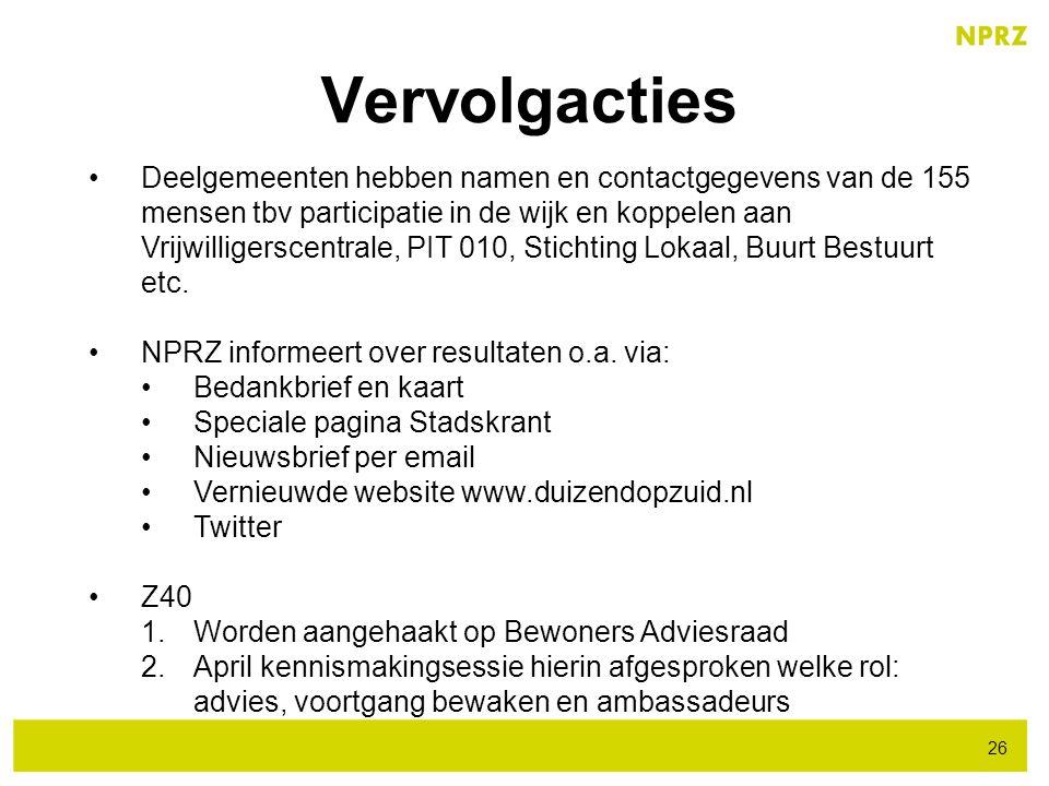 Vervolgacties 26 Deelgemeenten hebben namen en contactgegevens van de 155 mensen tbv participatie in de wijk en koppelen aan Vrijwilligerscentrale, PI