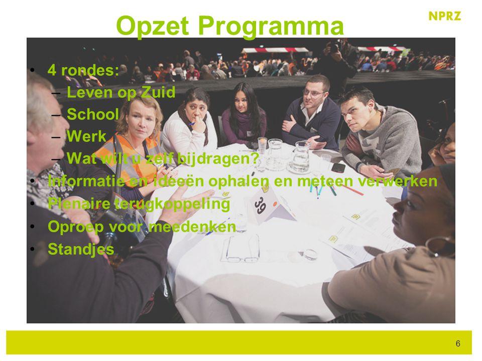 4 rondes: –Leven op Zuid –School –Werk –Wat wilt u zelf bijdragen? Informatie en ideeën ophalen en meteen verwerken Plenaire terugkoppeling Oproep voo