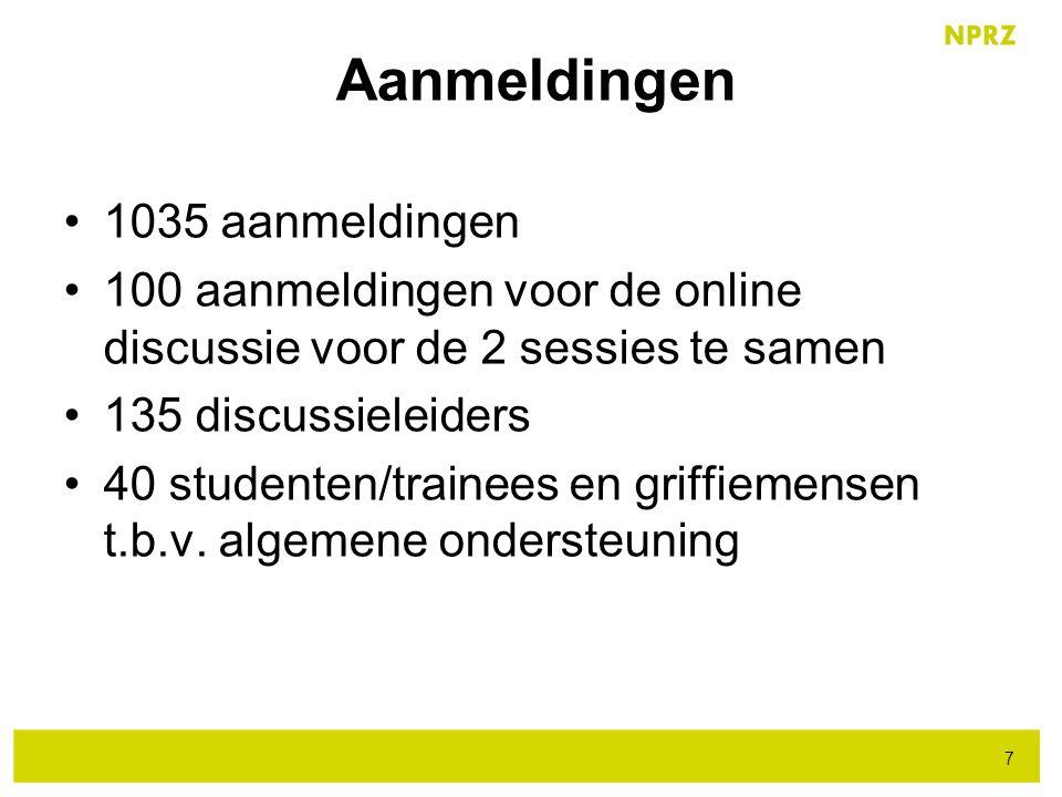 1035 aanmeldingen 100 aanmeldingen voor de online discussie voor de 2 sessies te samen 135 discussieleiders 40 studenten/trainees en griffiemensen t.b