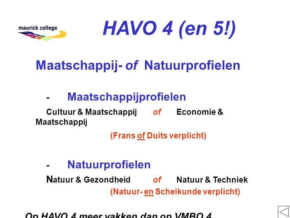 HAVO 4 (en 5!) Maatschappij- of Natuurprofielen - Maatschappijprofielen Cultuur & Maatschappij of Economie & Maatschappij (Frans of Duits verplicht) - Natuurprofielen N atuur & Gezondheidof Natuur & Techniek (Natuur- en Scheikunde verplicht) Op HAVO 4 meer vakken dan op VMBO 4
