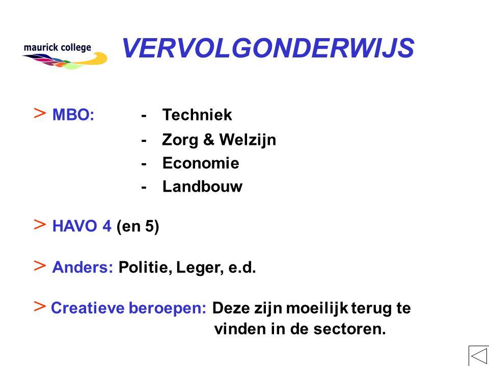 VERVOLGONDERWIJS > MBO:-Techniek -Zorg & Welzijn -Economie -Landbouw > HAVO 4 (en 5) > Anders: Politie, Leger, e.d.