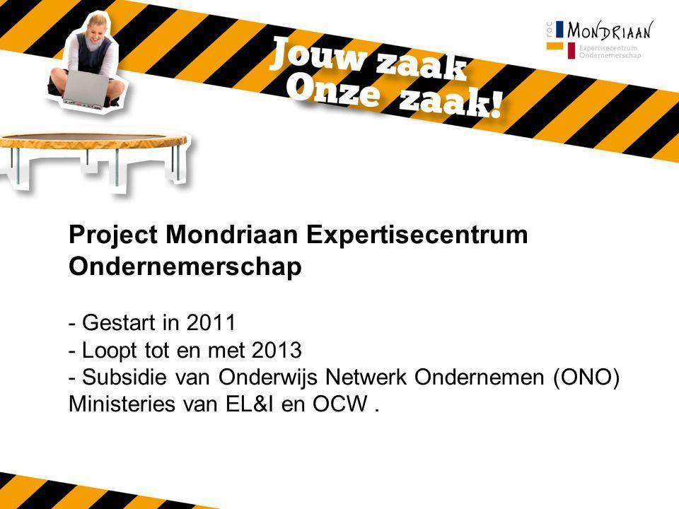 Project Mondriaan Expertisecentrum Ondernemerschap - Gestart in 2011 - Loopt tot en met 2013 - Subsidie van Onderwijs Netwerk Ondernemen (ONO) Ministeries van EL&I en OCW.