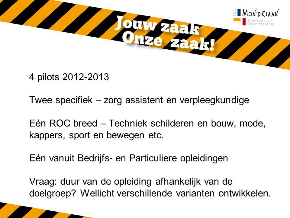 4 pilots 2012-2013 Twee specifiek – zorg assistent en verpleegkundige Eén ROC breed – Techniek schilderen en bouw, mode, kappers, sport en bewegen etc.