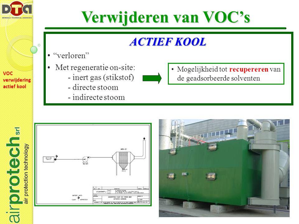 VOC verwijdering actief kool Verwijderen van VOC's Mogelijkheid tot recupereren van de geadsorbeerde solventen ACTIEF KOOL verloren Met regeneratie on-site: - inert gas (stikstof) - directe stoom - indirecte stoom