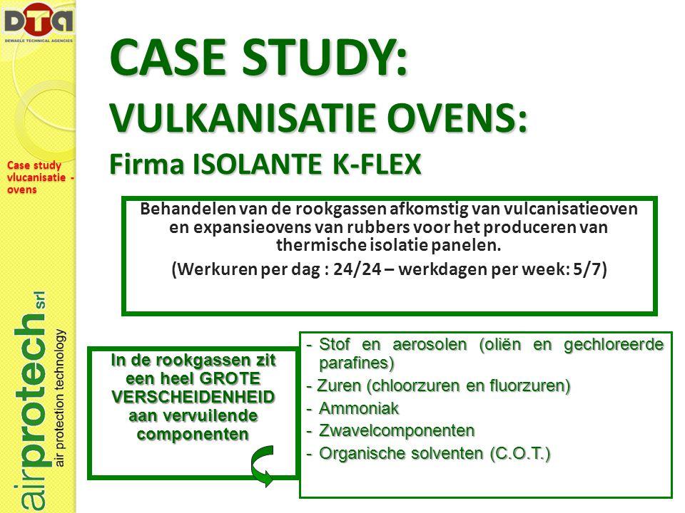 CASE STUDY: VULKANISATIE OVENS: Firma ISOLANTE K-FLEX Behandelen van de rookgassen afkomstig van vulcanisatieoven en expansieovens van rubbers voor het produceren van thermische isolatie panelen.