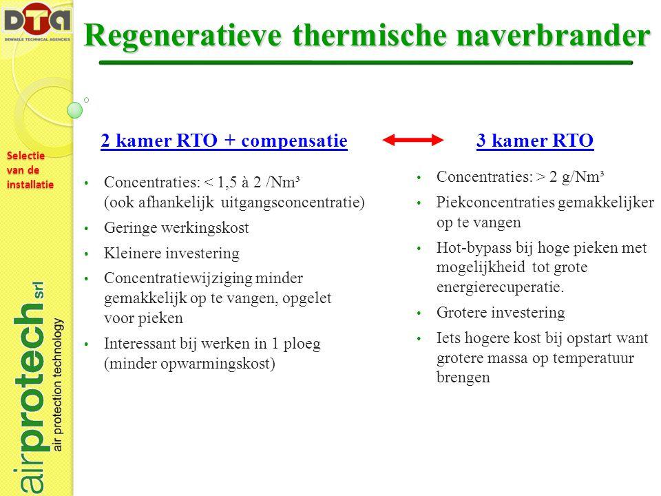 Selectie van de installatie Regeneratieve thermische naverbrander 2 kamer RTO + compensatie Concentraties: < 1,5 à 2 /Nm³ (ook afhankelijk uitgangsconcentratie) Geringe werkingskost Kleinere investering Concentratiewijziging minder gemakkelijk op te vangen, opgelet voor pieken Interessant bij werken in 1 ploeg (minder opwarmingskost) 3 kamer RTO Concentraties: > 2 g/Nm³ Piekconcentraties gemakkelijker op te vangen Hot-bypass bij hoge pieken met mogelijkheid tot grote energierecuperatie.