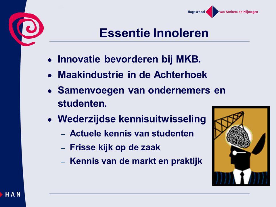 Essentie Innoleren Innovatie bevorderen bij MKB. Maakindustrie in de Achterhoek Samenvoegen van ondernemers en studenten. Wederzijdse kennisuitwisseli