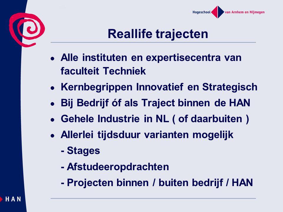 Reallife trajecten Alle instituten en expertisecentra van faculteit Techniek Kernbegrippen Innovatief en Strategisch Bij Bedrijf óf als Traject binnen