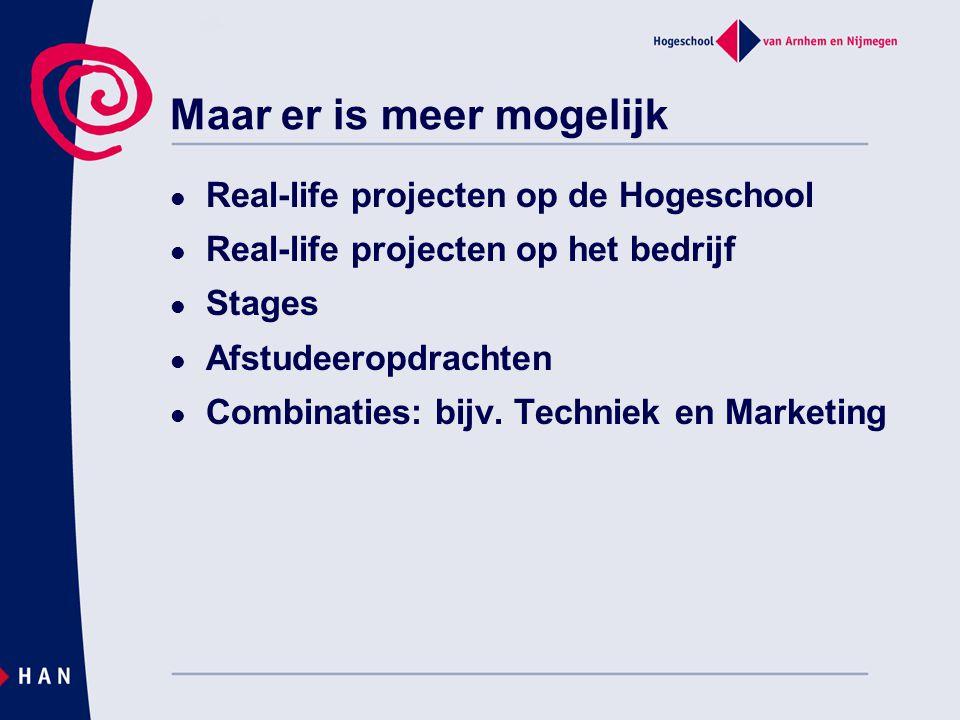 Maar er is meer mogelijk Real-life projecten op de Hogeschool Real-life projecten op het bedrijf Stages Afstudeeropdrachten Combinaties: bijv. Technie