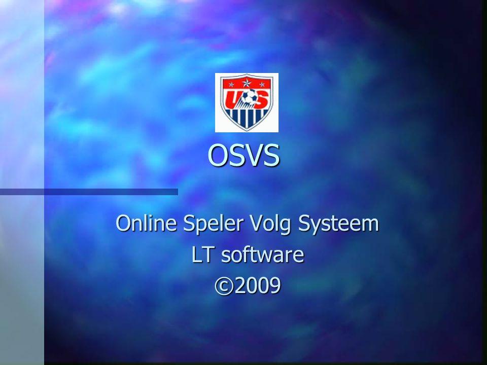 OSVS Online Speler Volg Systeem LT software ©2009