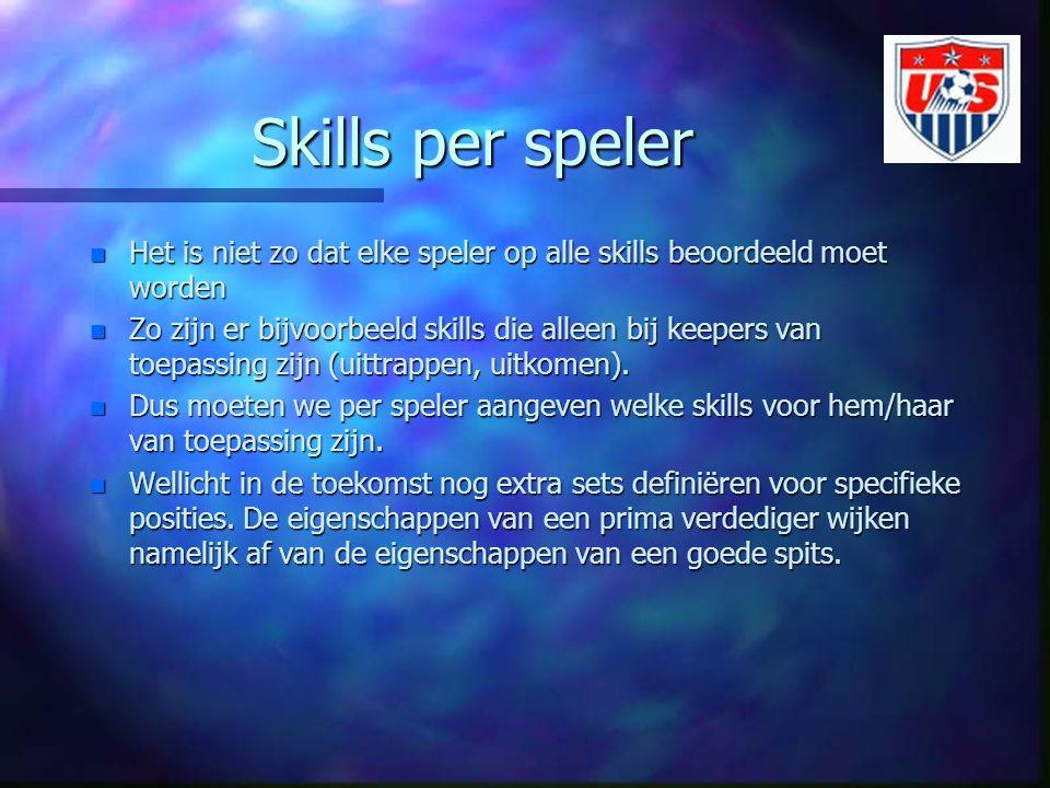 Skills per speler n Het is niet zo dat elke speler op alle skills beoordeeld moet worden n Zo zijn er bijvoorbeeld skills die alleen bij keepers van toepassing zijn (uittrappen, uitkomen).