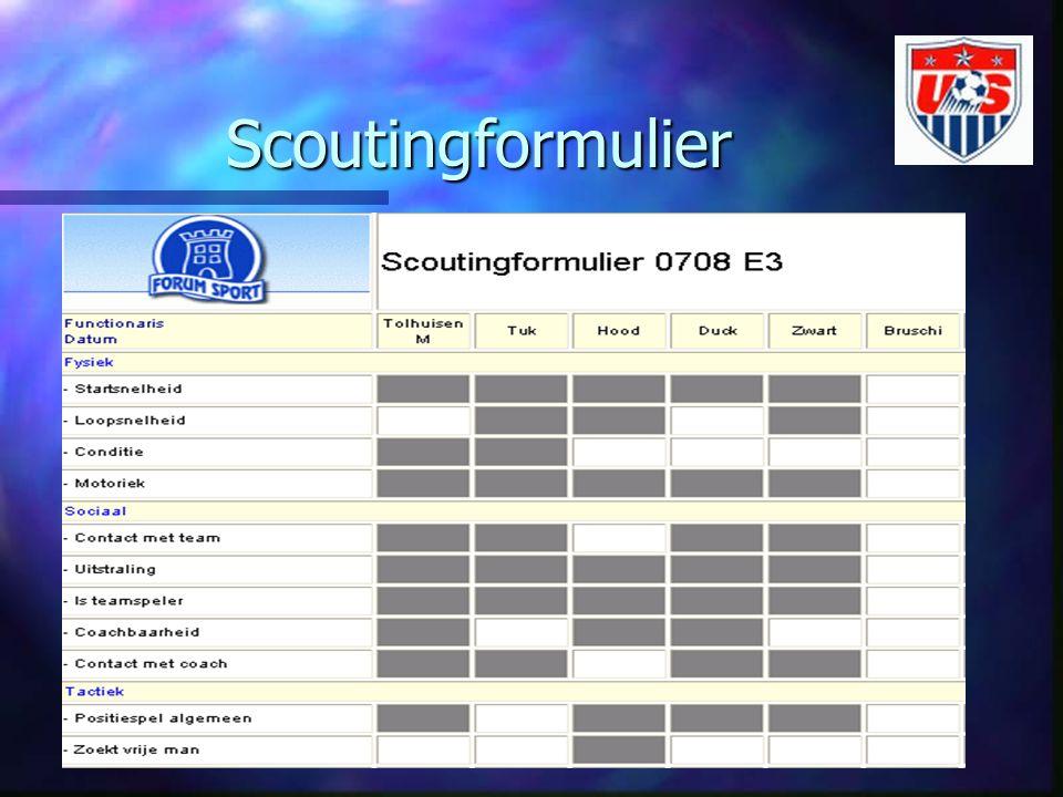 Scoutingformulier n We hebben dus per spelerdossier aangegeven op welke skills er beoordeeld moet worden n Dit beoordelen gebeurt door geschikte vrijwilligers (scouts) n Zij vullen de scores in op een scoutingformulier n Dit formulier kan per team geprint worden n Als scores worden de cijfers 4 t/m 9 geaccepteerd n Er is onderscheid in A, B, C niveau tussen de teams waarbij niveau A gelijk staat aan selectieteams n Een 9 op niveau A is dus niet gelijk aan een 9 op niveau B n Systeem maakt blokjes zwart waar beoordeling niet nodig is