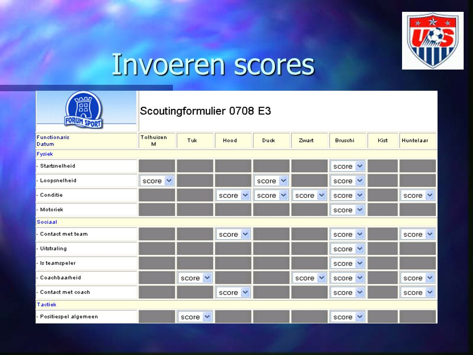 Invoeren scores n Na invullen van formulier kan de scout zelf online inloggen in het OSVS en de scores invoeren n Gegevens worden opgeslagen in de database n Bij opslaan zal teamniveau meegenomen worden.