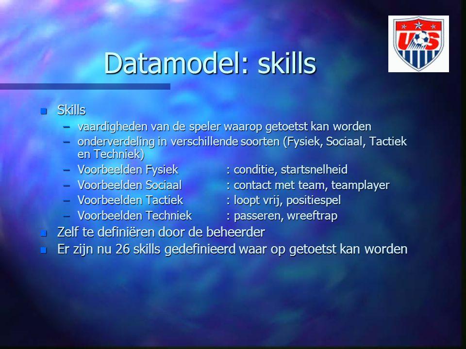Datamodel: skills n Skills –vaardigheden van de speler waarop getoetst kan worden –onderverdeling in verschillende soorten (Fysiek, Sociaal, Tactiek en Techniek) –Voorbeelden Fysiek : conditie, startsnelheid –Voorbeelden Sociaal : contact met team, teamplayer –Voorbeelden Tactiek : loopt vrij, positiespel –Voorbeelden Techniek : passeren, wreeftrap n Zelf te definiëren door de beheerder n Er zijn nu 26 skills gedefinieerd waar op getoetst kan worden