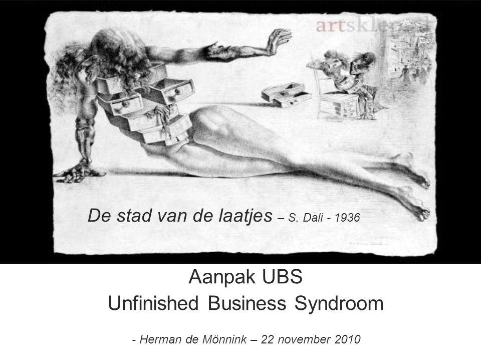 Unfinished Business Syndroom Aanpak UBS Unfinished Business Syndroom - Herman de Mönnink – 22 november 2010 De stad van de laatjes – S. Dali - 1936