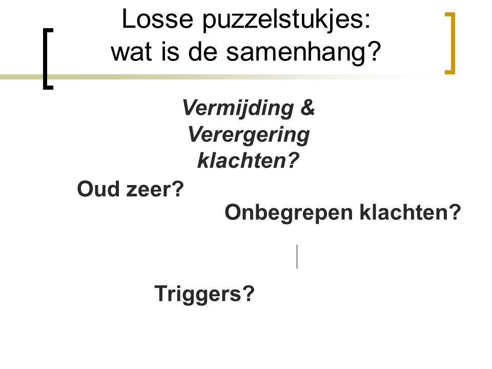 Losse puzzelstukjes: wat is de samenhang? Triggers? Vermijding & Verergering klachten? Onbegrepen klachten? Oud zeer?