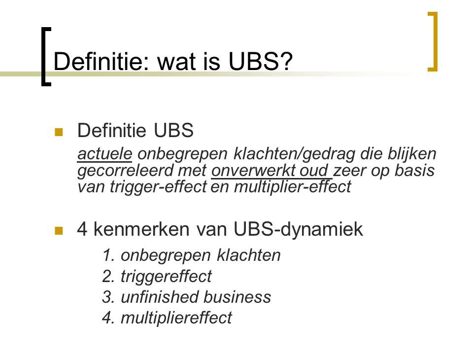 Definitie: wat is UBS? Definitie UBS actuele onbegrepen klachten/gedrag die blijken gecorreleerd met onverwerkt oud zeer op basis van trigger-effect e