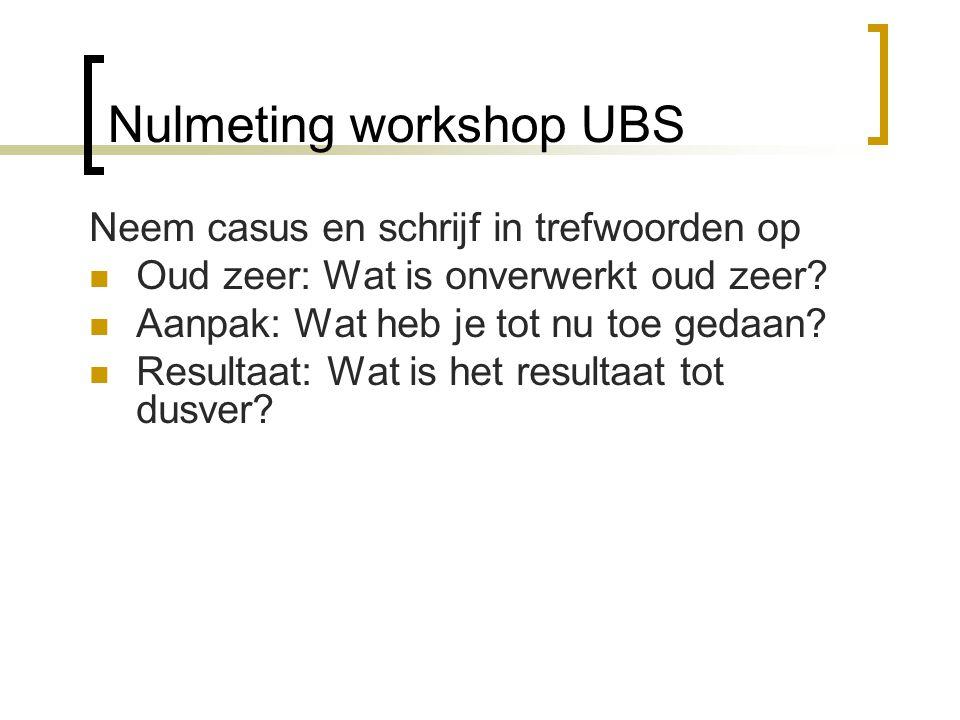 Nulmeting workshop UBS Neem casus en schrijf in trefwoorden op Oud zeer: Wat is onverwerkt oud zeer? Aanpak: Wat heb je tot nu toe gedaan? Resultaat: