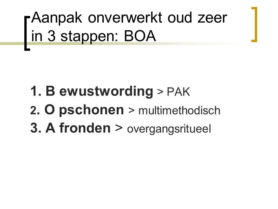 Aanpak onverwerkt oud zeer in 3 stappen: BOA 1. B ewustwording > PAK 2. O pschonen > multimethodisch 3. A fronden > overgangsritueel