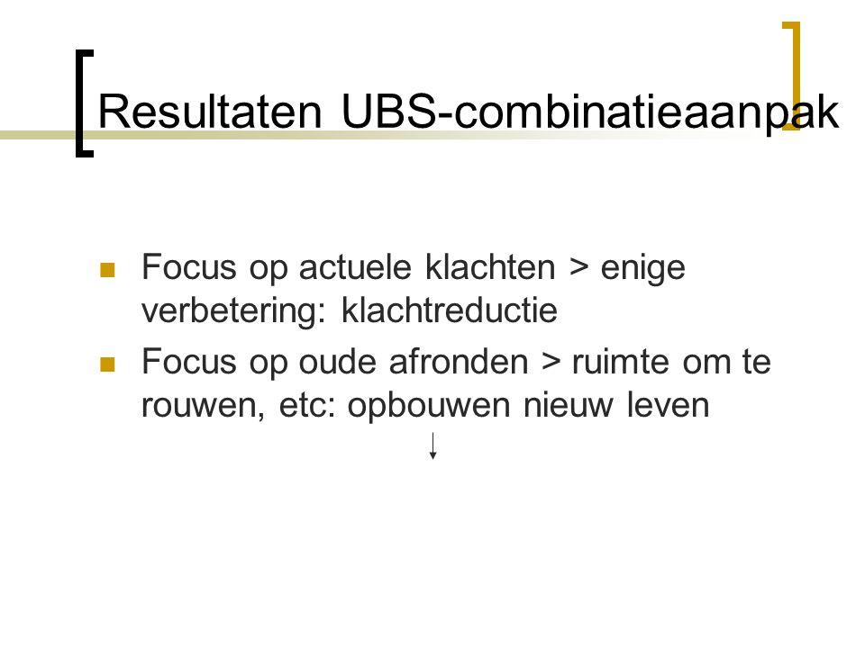 Resultaten UBS-combinatieaanpak Focus op actuele klachten > enige verbetering: klachtreductie Focus op oude afronden > ruimte om te rouwen, etc: opbouwen nieuw leven