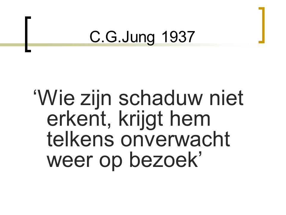 C.G.Jung 1937 'Wie zijn schaduw niet erkent, krijgt hem telkens onverwacht weer op bezoek'