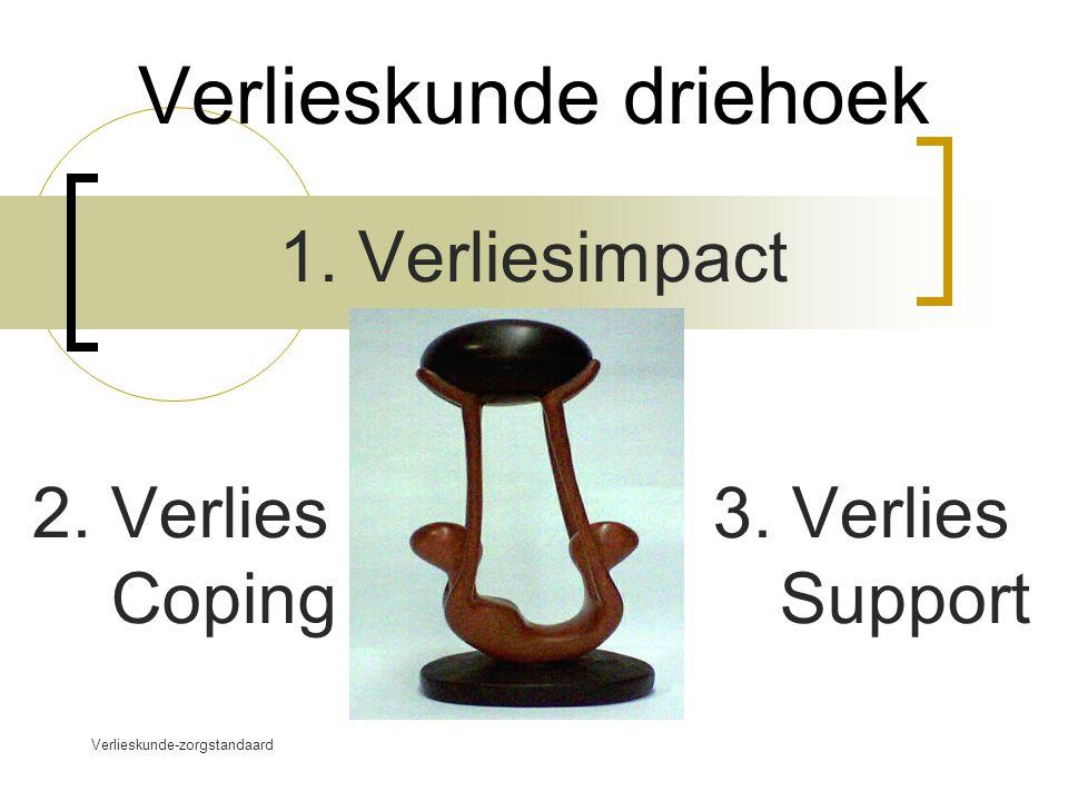 Verlieskunde-zorgstandaard www.verlieskunde.nl Verlieskunde driehoek 1. Verliesimpact 2. Verlies 3. Verlies Coping Support