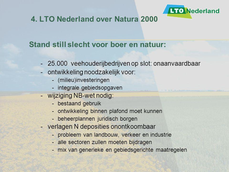 4. LTO Nederland over Natura 2000 Stand still slecht voor boer en natuur: -25.000 veehouderijbedrijven op slot: onaanvaardbaar -ontwikkeling noodzakel