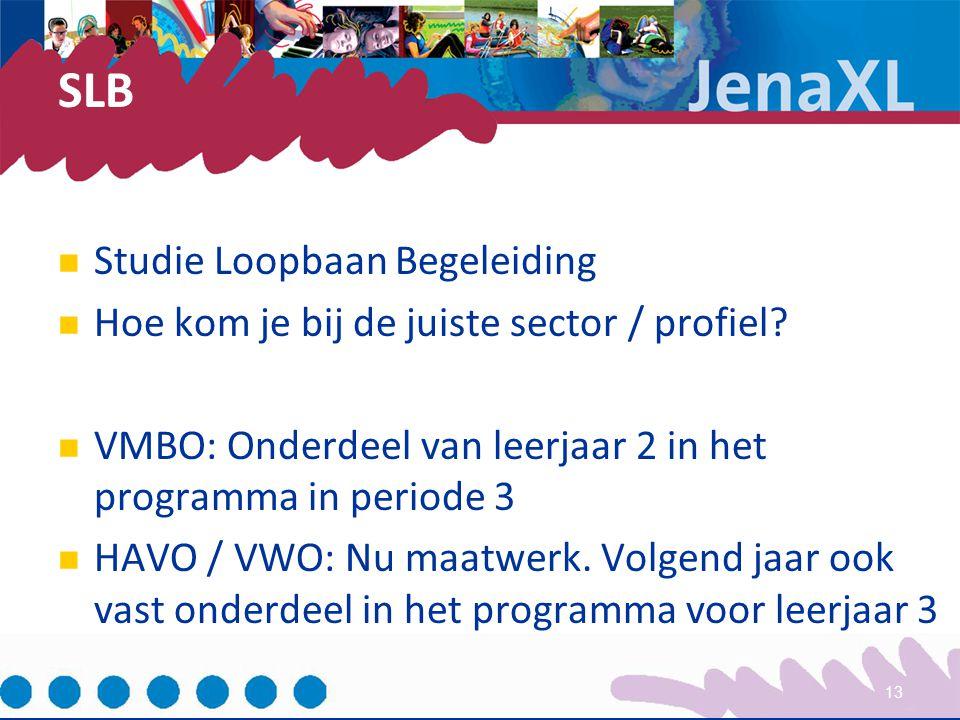 SLB Studie Loopbaan Begeleiding Hoe kom je bij de juiste sector / profiel? VMBO: Onderdeel van leerjaar 2 in het programma in periode 3 HAVO / VWO: Nu