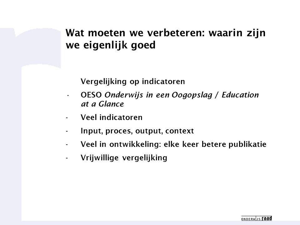 Weten waar we goed in zijn4 Wat moeten we verbeteren: waarin zijn we eigenlijk goed Vergelijking op indicatoren OESO Onderwijs in een Oogopslag / Education at a Glance -Veel indicatoren -Input, proces, output, context -Veel in ontwikkeling: elke keer betere publikatie -Vrijwillige vergelijking