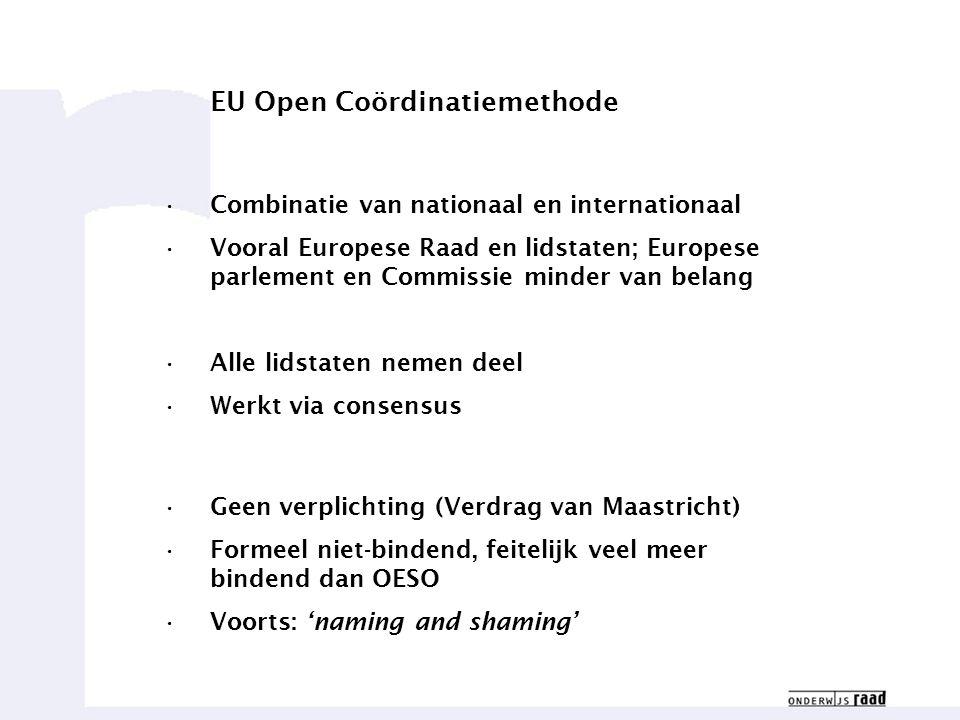 Weten waar we goed in zijn6 EU Open Coördinatiemethode Combinatie van nationaal en internationaal Vooral Europese Raad en lidstaten; Europese parlement en Commissie minder van belang Alle lidstaten nemen deel Werkt via consensus Geen verplichting (Verdrag van Maastricht) Formeel niet-bindend, feitelijk veel meer bindend dan OESO Voorts: 'naming and shaming'
