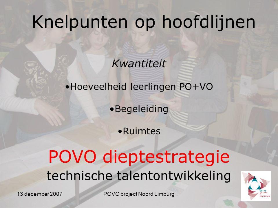 13 december 2007POVO project Noord Limburg Knelpunten op hoofdlijnen Kwantiteit Hoeveelheid leerlingen PO+VO Begeleiding Ruimtes POVO dieptestrategie technische talentontwikkeling