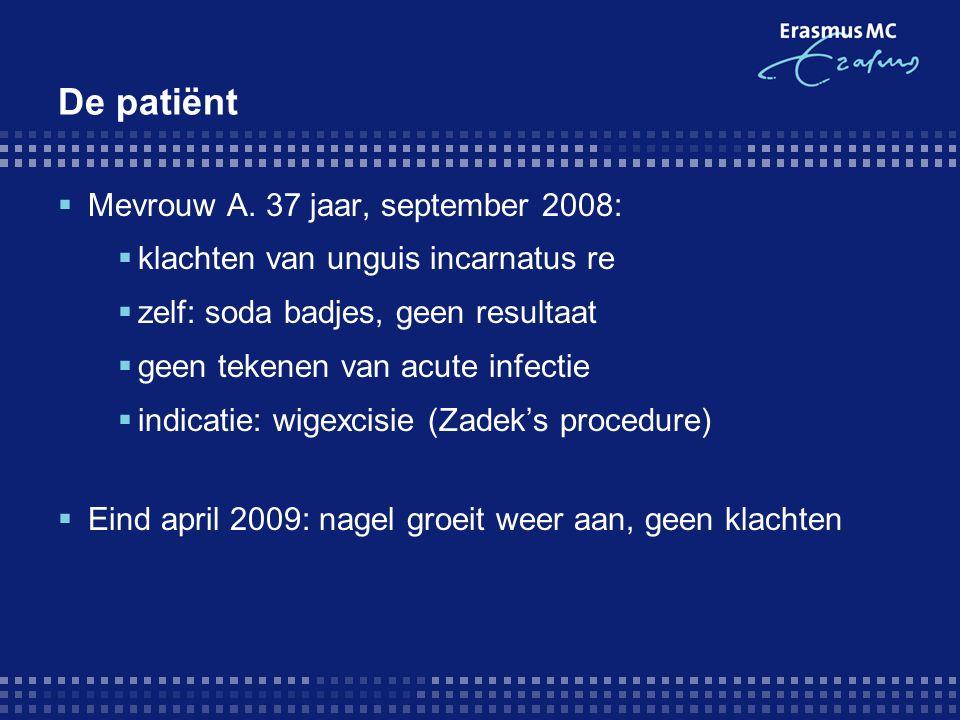 PICO  P : patiënt met unguis incarnatus waarvoor indicatie tot chirurgische ingreep  I : wigexcisie met fenolisatie  C : andere chirurgische technieken (Zadek's plastie, …)  O : het voorkomen van het opnieuw aangroeien van de nagel