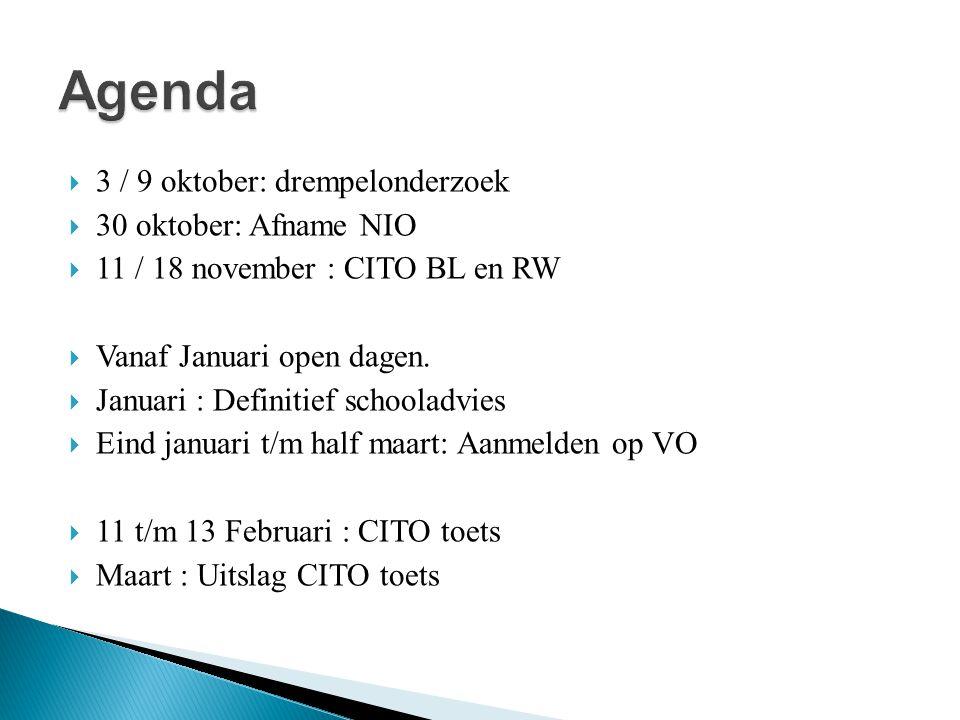  3 / 9 oktober: drempelonderzoek  30 oktober: Afname NIO  11 / 18 november : CITO BL en RW  Vanaf Januari open dagen.